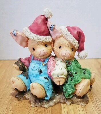 """Enesco TLP This Little Piggy """"We Squish You a Merry Christmas"""" Holiday 1995"""