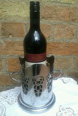 Vintage art deco chrome / silver plated ornate wine champagne bottle holder