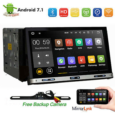 7'' Android 7.1 4G WiFi 2 DIN Car Radio Stereo DVD Player GPS Mirror Link+Camera