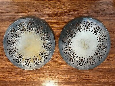 English Vintage Silverplate Round Trivets Silver Plated 7 Inch Set of Two