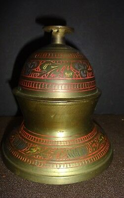"Vintage Etched Brass Elephant Claw Temple Bell on Base 4.5"" Made in India"