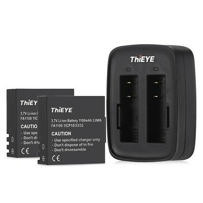 ThiEYE Dual Battery Charger with Two 1100mAh Batteries for T5e / T5 Action