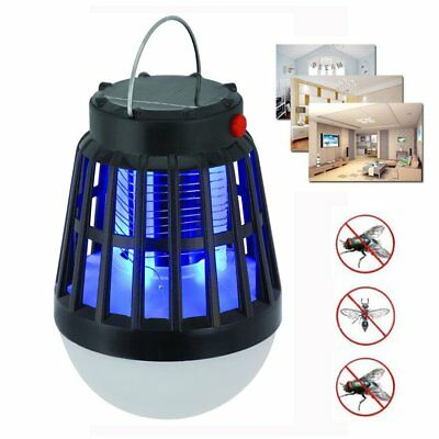 Solar Powered Lamp Night Light Fly Outdoor Insect Bug Mosquito Zapper Killer GV