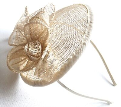 New Ivory cream flower cap sinamay aliceband fascinator wedding races ascot prom