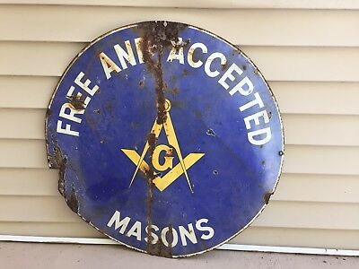 """Secret Society, """"Masons""""  Free And Accepted 30"""" Porcelain Sign. """"As Is"""""""