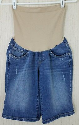 Motherhood Maternity Size Medium Shorts Denim Blue Jean Bermuda Full Belly Panel
