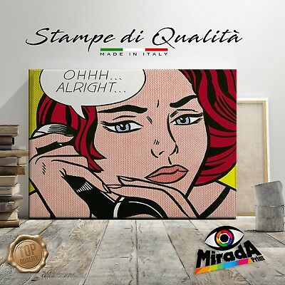 Roy Lichtenstein alright girl QUADRO STAMPA SU TELA CANVAS ARTE ARREDO POP ART