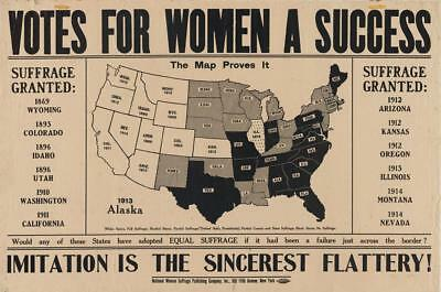 Print. 1913-5. Women's Suffrage Map Voting Approval