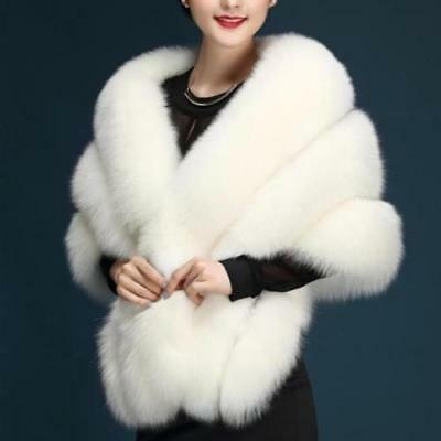 Chic White Plush Faux Fur Women Wedding Wrap Shrug Bolero Bridal Coat Shawl Cape