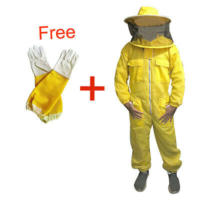 Bee Clothing 3 Layer beekeeping protective ful suit ventilated Round veil yellow