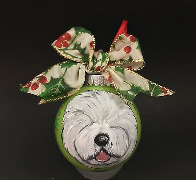 """Old English sheepdog 3.5"""" HAND PAINTED shatter proof Ornament lime green"""