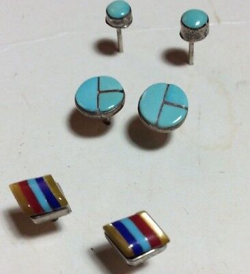 Lot of Three Pairs Sterling Silver Turquoise And Glass Stud Earrings