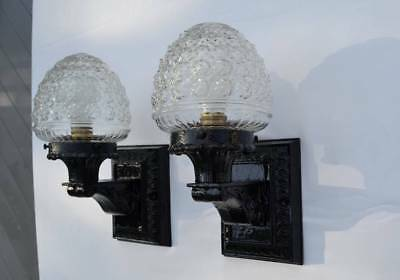 Pair of Antique Cast Iron Outdoor Porch Wall Sconce Glass Shades