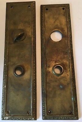 "Antique Vintage 1900s Bronze Door Lock Back Plates Set Brass 12 1/8"" Escutcheon"