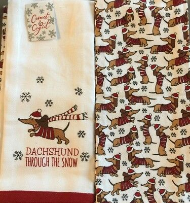 Set of 2 Dachshund Through The Snow Doxie Christmas Holiday Kitchen Dish Towels
