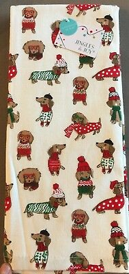 Set of 2 Jingles & Joy Dachshund Doxie Christmas Holiday Kitchen Dish Towels