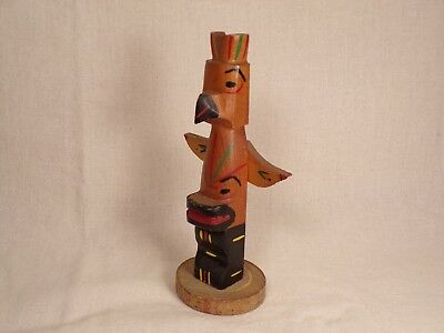 Vintage Carved and Painted Souvenir Totem Pole Marked Dells Wisconsin