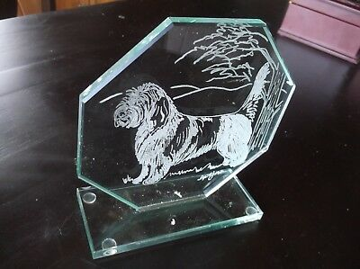 Petit Basset Griffon Vendeen- Hand engraved Hexagon Sculpture by Ingrid Jonsson.