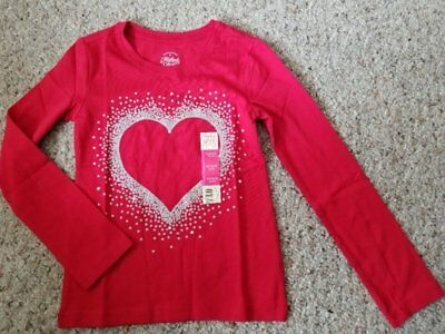 NWT Red FADED GLORY Sparkly Heart Long Sleeved Top Girls Size 4-5