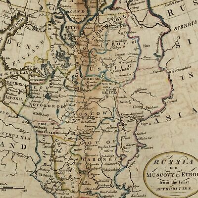 Russia Muscovy in Europe c.1800 old map Payne Low Longitude from Philadelphia