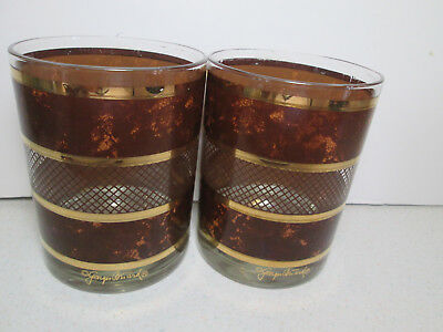 2 - Vintage Georges Briard Tortoise Double Old Fashioned Glasses
