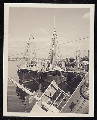 Vintage Antique Photograph Two Beautiful Boats Parked Near the Dock