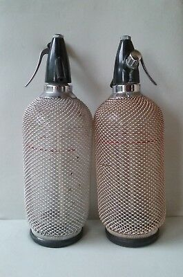 Sparklets Seltzer Vintage Intricate Tiny Woven Wire Bottles-Chrome Top Mechs