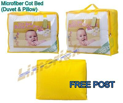 Microfiber Cot Bed Duvet Pillow Toddler Anti-Allergy Junior Bed Duvet All TOGS