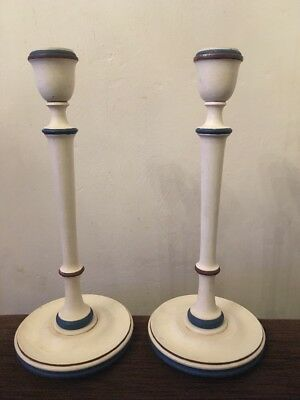 Vintage Wooden Candle Sticks - Blue And White
