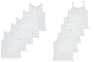 5 Pack Girls White Vests or Cami Vests Tops School Vests Ages 2-14 Years