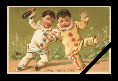 Rare French Antique Trade Card: Original Old Lithograph Clowns France