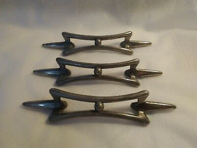 Lot of 3 Vintage Mid Century Chrome Drawer Pulls Cabinet Door 7 1/2""