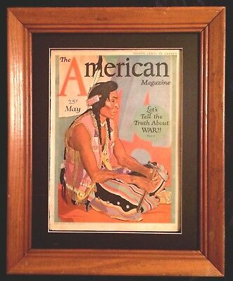 """Antique """"the American Magazine"""" Winold Reiss Cover 1930's Native American Framed"""