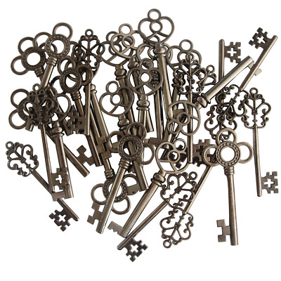 (Set of 30) Mixed Vintage Old Look Skeleton Keys Fancy Heart Bow Necklace...
