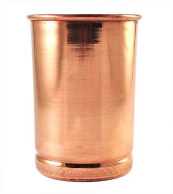 Handmade pure Copper glass Plain Pattern 250 ml Each (PACK OF 2)