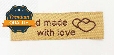 10 Pack of Woven Handmade Labels with Love for Custom (Coffee)
