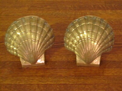 Vintage Set Of Brass Seashell Clam Shell Shaped Bookends Ocean Nautical Book End
