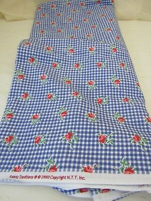 Vintage 2000 Fabric Traditions Cotton Quilt Dolls Roses on Blue Gingham BTHY