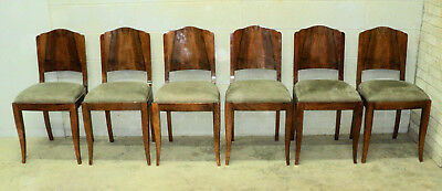 Set of 6 Antique French Art Deco Solid Birchwood and Suede Dining Chairs