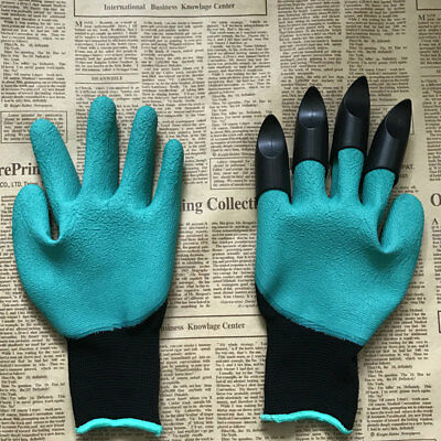 52E1 Safety Outdoor Garden Gloves Flowers Gardening Digging with 4 Plastic Claws
