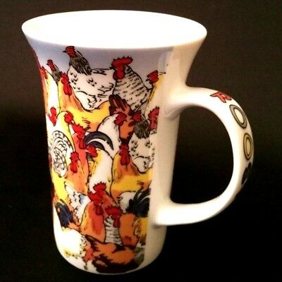 Ceramic 12 ounce Tea Cappuccino Mug Cup Roosters 2008 Paul Cardew Gently Used
