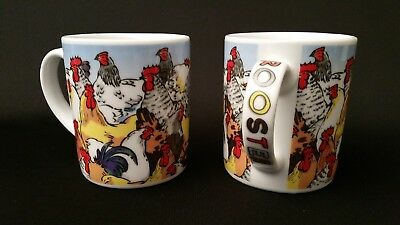 Lot Of 2 Ceramic 12 ounce Coffee Mugs Cups Roosters 2008 Paul Cardew Gently Used