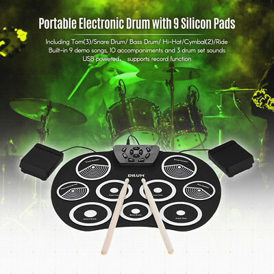 Electronic Drum Set Roll Up Drum Kit 9 Silicon Pads USB Powered Durable for Kids