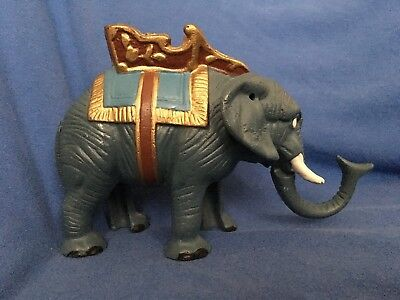 Vintage Cast Iron CIRCUS ELEPHANT Mechanical Coin Bank Barnum and Bailey Shrine