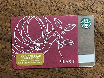 "Starbucks Gift Card 2017 ""Peace"" Dove Olive Branch Bird Cheer Holiday No $ Value"