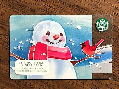 Starbucks Gift Card 2014 Snowman Red Bird Cardinal Snow Flake Holiday No $ Value