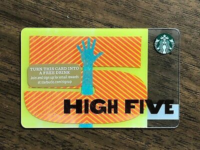 """Starbucks Gift Card 2015 """"High Five"""" 5 Hand Celebration Cheer Holiday No $ Value"""