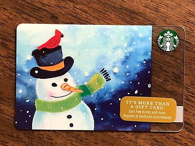 Starbucks Gift Card 2016 Snowman Red Bird Cardinal Snow Flake Holiday No $ Value