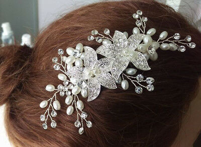 Wedding hair Accessories Crystal bead Silver Comb Flower Clip Pin Bridal Bride