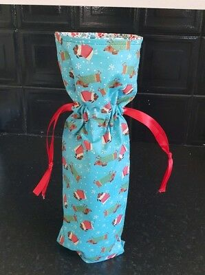 Christmas Wine Bottle Gift Bag - Fabric - Pugs & Dachshunds Sausage Dog Design